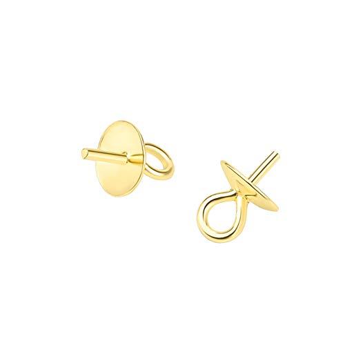 JIHUOO 10 pinzas de plata con colgante de perla de 6 mm para hacer joyas, manualidades, color dorado