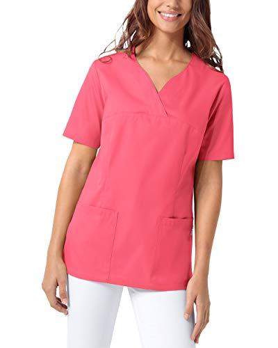 CLINIC DRESS Schlupfkasack Damen Kasack für die Pflege 1/2 Arm Regular Fit 50% Baumwolle 95 Grad Wäsche Lipstick M