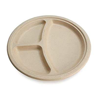 "Earth's Natural Alternative Eco-Friendly, Natural Compostable Plant Fiber 10"" 3-Compartment Plate, 50 Pack"