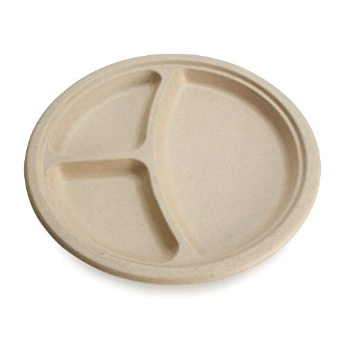 100% Compostable Disposable Paper Plates Bulk [10' 3-Comp 50 Pack], Bamboo Plates, Eco Friendly, Biodegradable, Sturdy Large Dinner Party Plates, Heavy-Duty, Unbleached by Earth's Natural Alternative