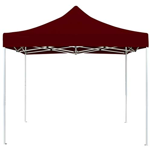 Tidyard Professional Folding Party Tent for Outdoor Events Sturdy Frame Light Weight Foldable Design Aluminium 3x3 m Wine Red