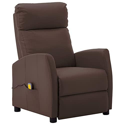 Gawany Sillón reclinable de Masaje Sillón Relax de Salón, Masaje de Vibración de 6 Puntos, Respaldo y Reposapiés Ajustable, Calentamiento Asiento de Cuero sintético marrón
