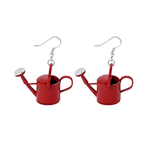 EMFGJ Kreative Gießflasche Haken Ohrring Halskette Lustige Gießkanne Baumeln Ohrringe Schmuck Geschenk für Frauen Mädchen,Rote-Ohrringe