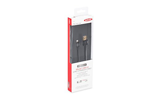 ednet 31059 Apple Lade-/Datenkabel, 8 Polig, USB A, Stecker auf Stecker, 1m schwarz