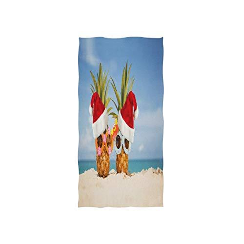 NBHBVGFC Toalla de baño suave de piña con gorro de Papá Noel, para hotel, spa, gimnasio, deporte, 76,2 x 38,8 cm