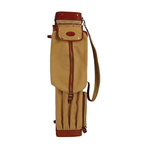 TOURBON Canvas and Leather Pencil Style Golf Club Carrier Bag Golfer Gift