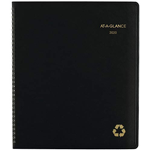 AT-A-GLANCE 2020-2021 Monthly Planner, 9u0022 x 11u0022, Large, Recycled, Black (70-260G-05)