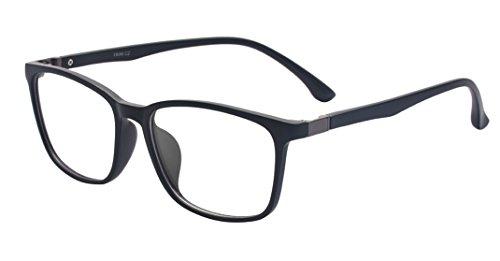 ALWAYSUV Voll Rahmen Rechteckig Klare Gläsern Rahmen Vintage TR90 Brillenfassung Nerd Brille Schwarz