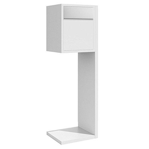 Standbriefkasten, Design Briefkasten Hermes Weiß/Edelstahl - Bravios
