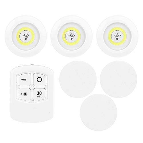 Changor Easy to Use Under Cabinet Light, Cabinet Lighting COB LED 9x9x2.1cm 2 X AAA Battery(Not Included) with ABS for Kitchen Wardrobe Closet