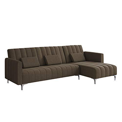Comfort Canapé d'angle Convertible en lit Chaise Longue Milano 267cm, Convertible en lit, réversible, rayé Marron.
