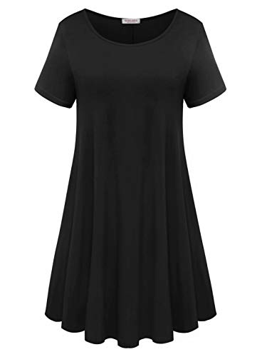 BELAROI Womens Comfy Swing Tunic Short Sleeve Solid T-Shirt Dress (3X, Black)