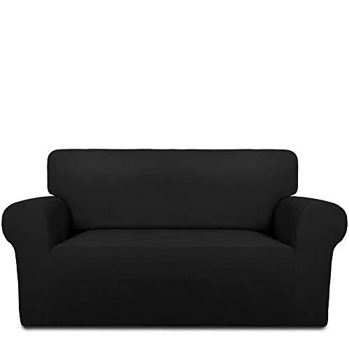 INMOZATA Sofa Covers 2 Seater 1 Piece Polyester Spandex Elastic Sofa Slipcovers Protector, Washable (Black)
