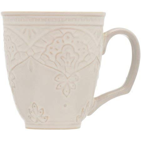 The Pioneer Woman Farmhouse Lace Mug Set, 4-Pack Off White