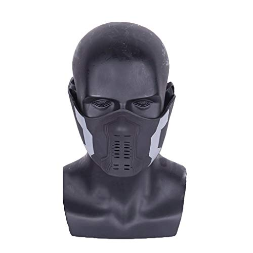 QWEASZER Marvel Avengers Capitan America 2 Winter Soldier Bucky Maschera in PVC, Accessori Cosplay Costume di Halloween Deluxe Edition per Adulti Uomini Fancy Dress,Bucky/A-OneSize