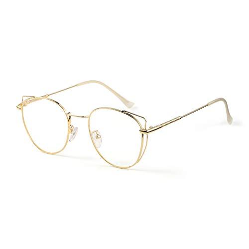SaNgaiMEi Gafas para Ordenador Anti luz Azul - Mujer Ojo de Gato Marco de metal Gafas con Filtro de luz Azul bloqueo de luz azul Evita la Fatiga Ocular (oro)