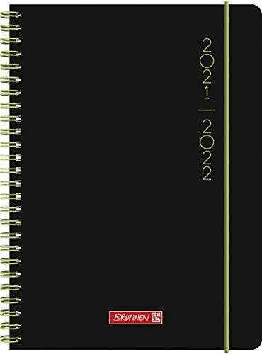 """Brunnen 1072156122 Schülerkalender 2021/2022 (18 Monate) """"Plain Black"""" 2 Seiten = 1 Woche, Blattgröße 14,8 x 21 cm, A5, PP-Einband schwarz"""