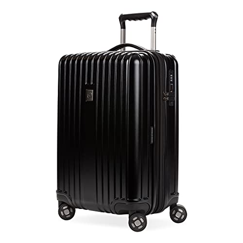 SwissGear 7910 Hardside Expandable Spinner Wheel Luggage with TSA Lock and USB, Black, Carry-On 20-Inch