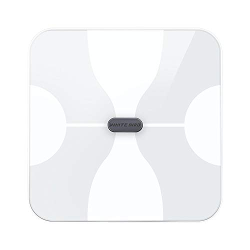 N A Electronic Scale, Intelligent Bluetooth Multifunction Light Energy Transfer LCD Display Heart Rate, Suitable for Weighing, Fat, Body Data (Color : White)