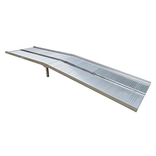 Goujxcy 10 Ft Aluminum Alloy Folding Ramp, 2020 Upgraded with Support Legs Home Loading Traction Ramp for Pet,Scooter,Bike,with Carrying Handle
