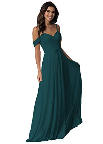 Miao Duo Off Shoulder Teal Bridesmaid Dresses Long Pleated Chiffon Evening Dress 14