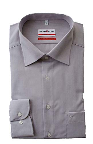Marvelis Hemd, Modern Fit, Langarm 64cm, Bügelfrei, Grau, New Kent Kragen, 100% Baumwolle (41)