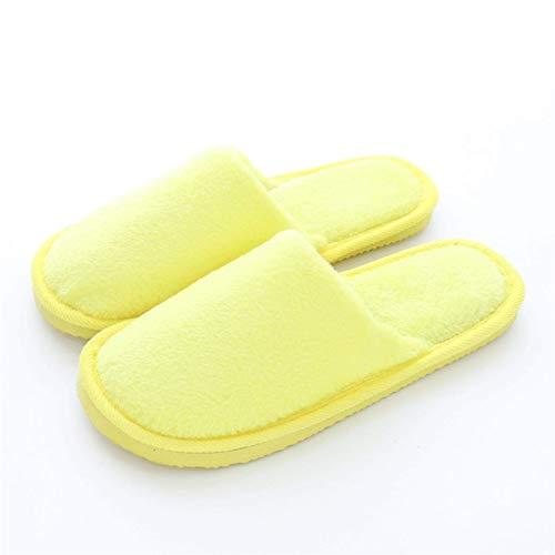 Slippers Peluche interior Muebles para el hogar Invierno piso de madera antideslizante cálido otoño inva confinamiento cálido algodón zapatillas zapatos de algodón (color: púrpura, zapato Tamaño: 37 3