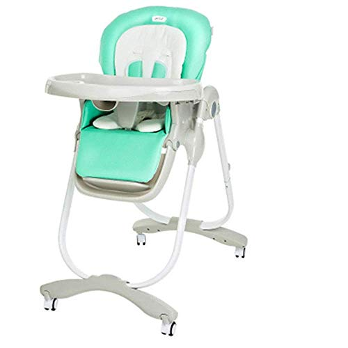 WLP-WF Mesas de Comedor para Bebés con Bandejas Portátiles Altas para Bebés con Altura Ajustable, Cómodas Y Seguras para Bebés (Color: Verde Oscuro),Verde Claro