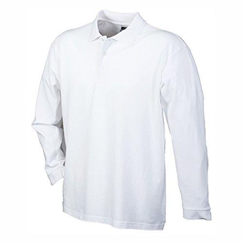JAMES & NICHOLSON Polo Maille piquée Manches Longues (XL, Blanc)