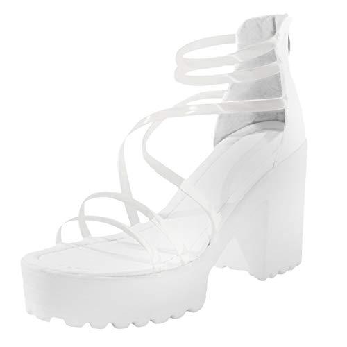 sandali zeppa bianchi scarpe donna eleganti espadrillas platform sandali 36 sandali donna estivi bassi sandali tacco donna (G44-White,35)