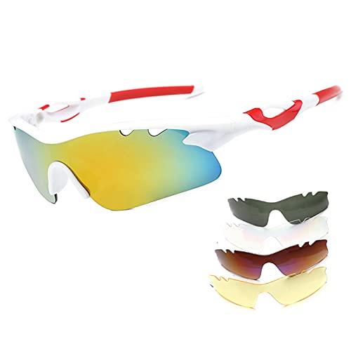 CYYMY Gafas de Ciclismo Polarizadas Gafas de Sol Deportivas con Montura Gafas de Bicicleta para Hombres Mujeres con 5 Lentes Intercambiables Anti-UV, para Ciclismo, Béisbol, Pesca, esquí,D