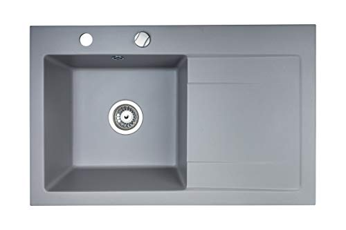 Granite Sink with a Trap | 79.5x50.5cm | Sink for Base Cabinet from 45 cm | Milano Granite Kitchen Sink | Built-in Sink with pop-up Waste and Overflow from Brenor (Grey)