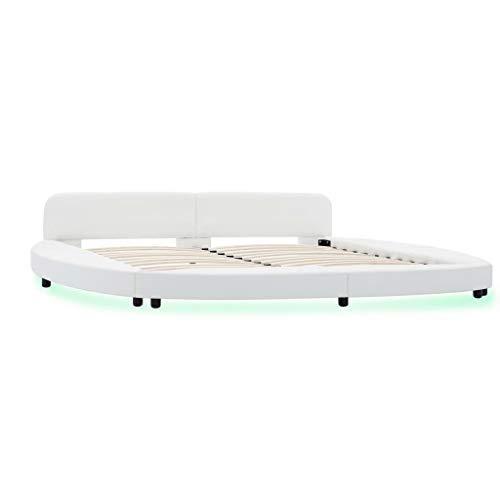 Festnight Estructura de Cama con LED de Cuero sintético Blanco 180x200 cm, Cama Matrimonio Estructura Cama Madera para...