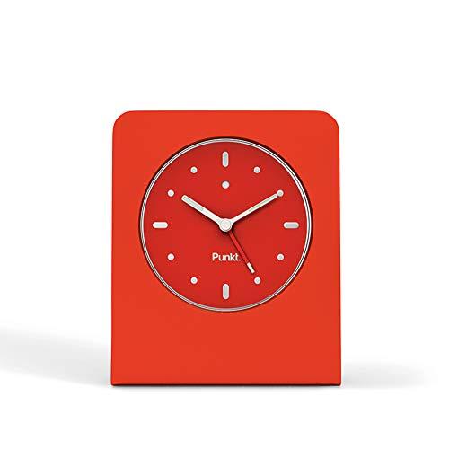 Punkt. ACo1 Design-Wecker Analog Klein, Ohen Ticken mit LED-Licht, Snooze, Batteriebetrieben, Alarm Clock mit Schlummerfunktion (Aluminiumblock und Glasfront) - Rot