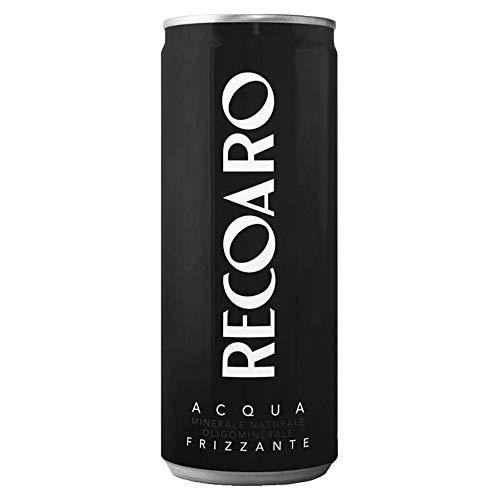 Acqua Minerale Frizzante Recoaro in Lattina | 24 Pezzi da 33 Cl | Plastic Free | Prodotto a Ridotto Impatto Ambientale | Dalle Piccole Dolomiti