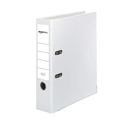 AmazonBasics - Archivador de palanca, cubierta de PP, lomo con bolsillo, Certificación FSC, A4, lomo de 80 mm de ancho, paquete de 10, blanco
