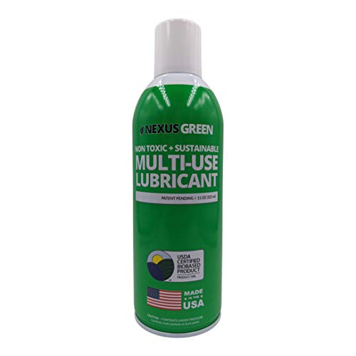 Nexus Green Non Toxic, Odor Free, Environmentally Friendly Multi-Use Lubricant | American Made Food Grade Cleaner, Non-Petroleum Oil Lubricant & Preservative/Protectant | (11 oz Spray Bottle)