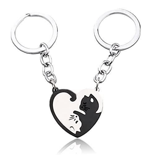 D・STONE 猫 キーホルダー ペア カップル キーリング ネコちゃん ステンレス製 プレゼント (黒と銀色)
