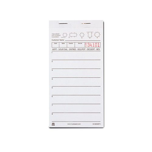 Royal White Server Pad Paper 1 Part Booked With 8 Lines Case Of 50