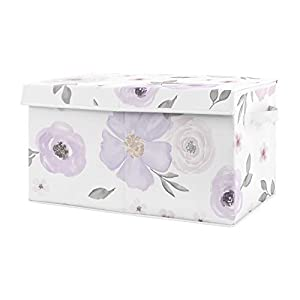 Sweet Jojo Designs Purple Watercolor Floral Girl Small Fabric Toy Bin Storage Box Chest for Baby Nursery or Kids Room – Lavender, Pink and Grey Shabby Chic Rose Flower