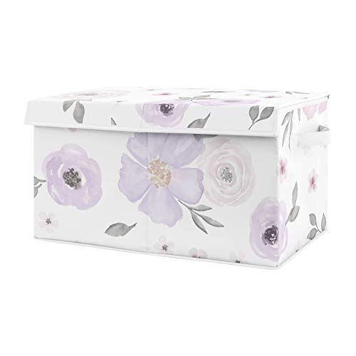 Sweet Jojo Designs Purple Watercolor Floral Girl Small Fabric Toy Bin Storage Box Chest for Baby Nursery or Kids Room - Lavender, Pink and Grey Shabby Chic Rose Flower