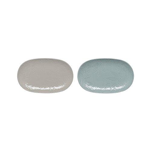 Denby Monsoon Reunir Set de 2pequeños Platos, Varios, Juego de 2, Porcelana, Grey/Green, 28.5 x 18 x 2.5 cm