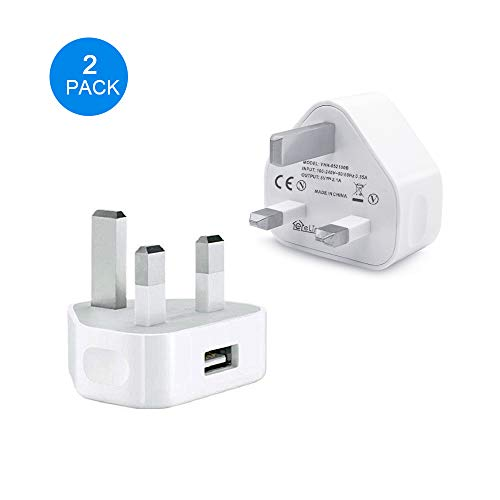 eLinkSmart USB Charger [2-Pack] UK USB 5V/2.1A Home Travel Wall Charger for Wifi Camera iPhone 7/7 Plus / 6s / 6s Plus, iPad, iPod, Tablet, Galaxy, Samsung