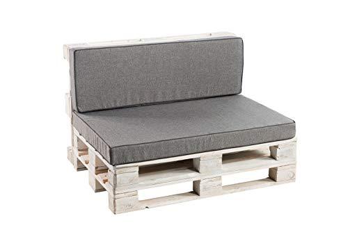 Palettenkissen Sitzkissen, Rückenkissen Schaumkissen glatt PFK (Sitzkissen 120x60, Grau)
