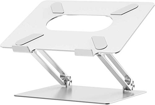 POVO Laptop Stand Adjustable Ergonomic Notebook Stand Aluminum Portable Computer Riser Holder with Heat Vents for all 10-17 Laptops (Silver)