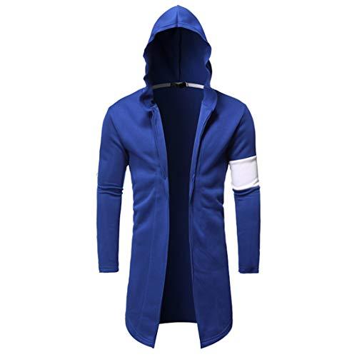 Sweatjacke Herren Kapuzen Cardigan Sweatshirt Lässig Langarm Sport Leichte Lange Jacken Outwear Hip Hop Style Open Front Hoodie Jacken Tops Streetwear B-Blue XXL