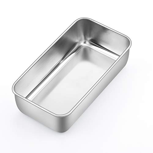9 inch Loaf Pan, P&P CHEF Stainless Steel Bread Baking Pan, Metal Bakeware For Bread Cake Toast Meatloaf Lasagna, Healthy & Non Toxic, Brushed Surface & Easy Clean, Oven & Dishwasher Safe