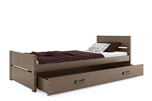 Cama Individual BARTEK, con somier, colchon de 200x90 y cajón Gratis! Color Chocolate
