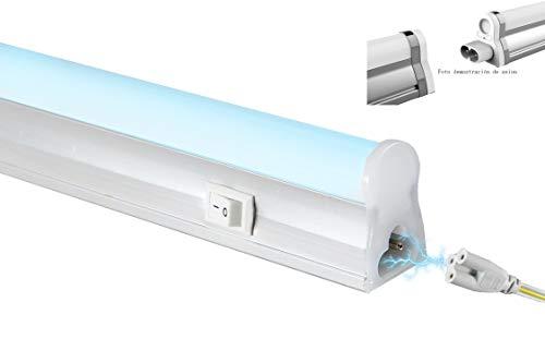 POPP® LED-Steckdosenleiste T5, Aluminium + PC, zweiseitig, 5 W, 9 W, 12 W, 18 W, Kaltweiß, 4000 K, 6000 K, Fluoreszierende Küchen, Schränke, Abstellräume [Energieeffizienzklasse A] (4000 K, 9 Watt)
