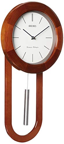 Seiko Circular & Sleek Wall Clock with Pendulum and Dual Chimes